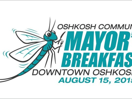 A new logo Oshkosh Community Mayor's Breakfast features a lake fly. The annual event is set for Aug. 15 this year at the Leach Amphitheater.