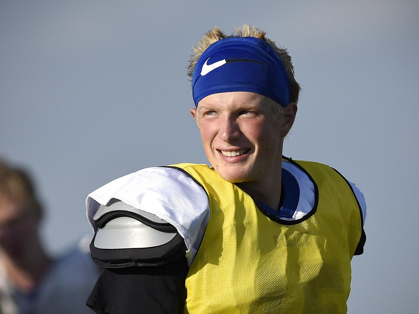 Foley quarterback Kyle Kipka comes back onto the field after a break during practice Monday in Foley.