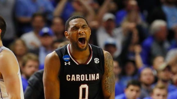 Sindarius Thornwell (0) of the South Carolina Gamecocks reacts in the second half against the Duke Blue Devils during the second round of the 2017 NCAA Men's Basketball Tournament at Bon Secours Wellness Arena on March 19,at Greenville, South Carolina.  (Photo by Kevin C. Cox/Getty Images)
