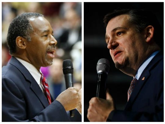 Ben Carson (left) and Ted Cruz on caucus night in Iowa.