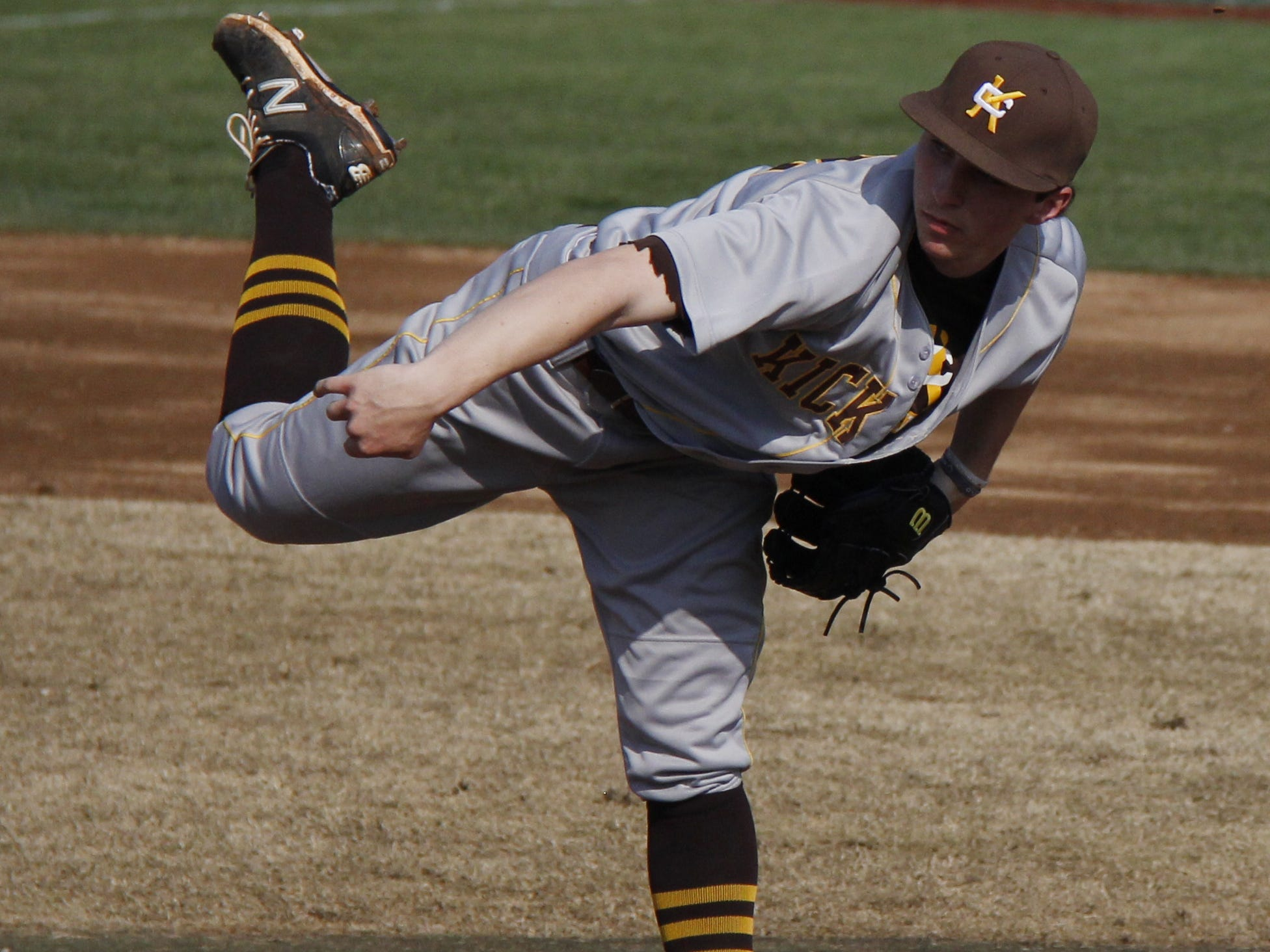 Kickapoo pitcher Kaleb Schmidt is one of a trio of juniors to step up to start games for the varsity Chiefs this season.