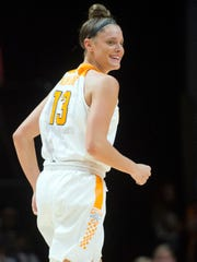 Tennessee's Kortney Dunbar smiles after scoring against Vanderbilt at Thompson-Boling Arena on Sunday.
