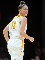 Tennessee's Kortney Dunbar smiles after scoring against