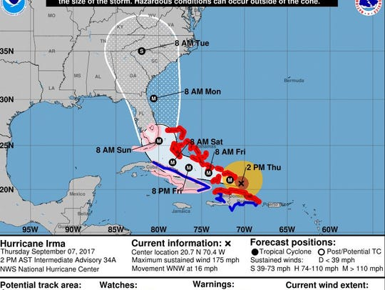 The official track of Irma as of 2 p.m. Thursday.