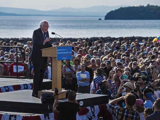 Sen. Bernie Sanders, I-Vt., announces he is a candidate for the Democratic nomination for president at Waterfront Park in Burlington on May 26.