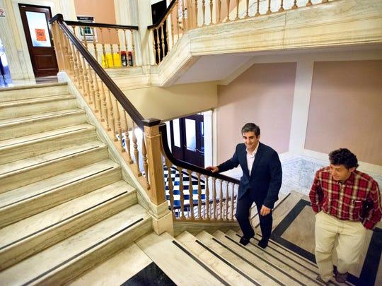 Burlington Mayor Miro Weinberger, left, and his chief of staff, Mike Kanarick, at City Hall on Sept. 30.