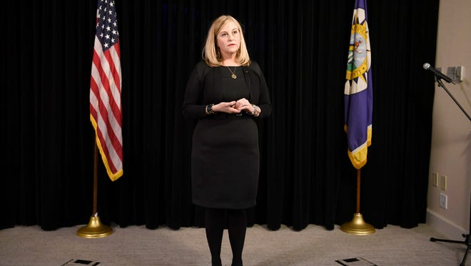 Nashville Mayor Megan Barry speaks to the media Wednesday, Jan. 31, 2018, at the Metro Courthouse in Nashville. Barry discussed her extramarital affair with the police officer in charge of her security detail during the 16-minute news conference.