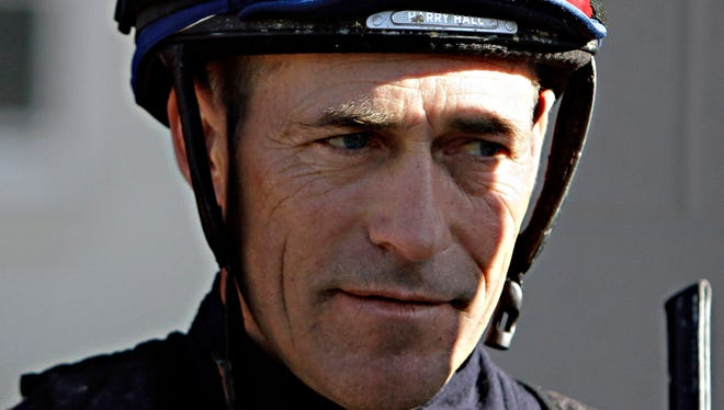 Jockey Gary Stevens, who is scheduled to ride Kentucky Derby hopeful Candy Boy in race, talks about the colt after a morning workout at Churchill Downs in Louisville.