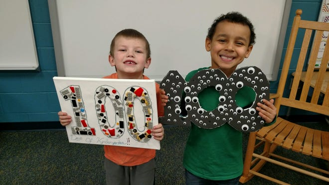 Payson Spencer and Seven Paige celebrate 100 days of kindergarten.