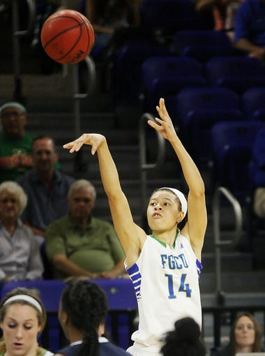 FGCU's Whitney Knight make a three point shot against