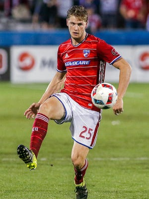 Jun 2, 2016; Dallas, TX, USA; FC Dallas defender Walker Zimmerman (25) controls the ball during the second half of game Houston Dynamo at Toyota Stadium. The game ended in a 1-1 tie. Mandatory Credit: Ray Carlin-USA TODAY Sports