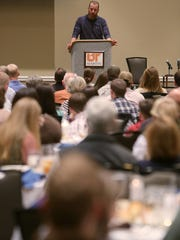 Adam LaRoche speaks during a scholarship benefit dinner, benefitting the Phillip Trey Lindsey Endowment Fund, inside the Duncan Ballroom at the Boling University Center on the campus of University of Tennessee at Martin in Martin, Tenn., on Saturday, Feb. 18, 2017.