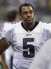 Philadelphia Eagles quarterback Donovan McNabb, watches