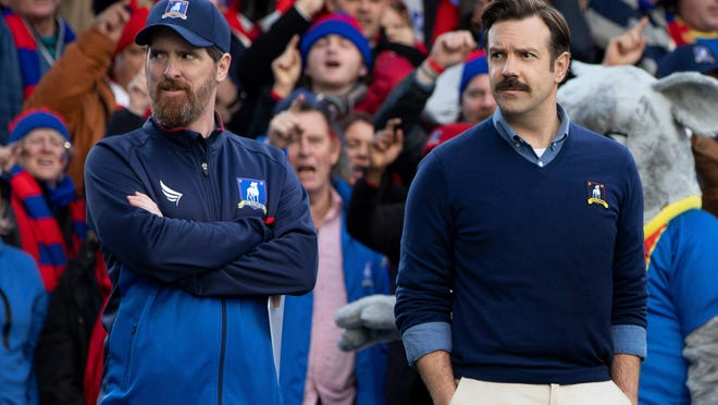 "Jason Sudeikis, right, with Brendan Hunt in ""Ted Lasso"""