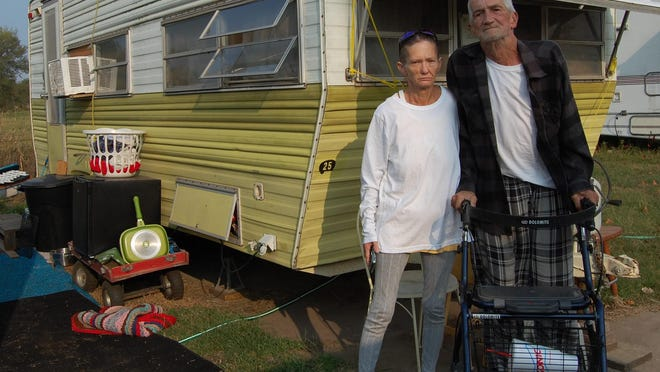Aleena Greever and her husband, Gary, are looking for a place to relocate their trailer after being given notice to vacate a trailer park in South Hutchinson.