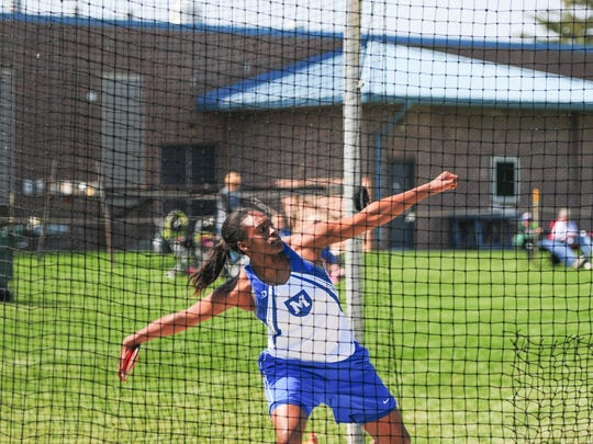Mercersburg Academy's Isiuwa Oghagbon prepares to unleash the discus on Saturday at the Tim Cook Invitational. Oghagbon placed second in both the discus and the shot put.