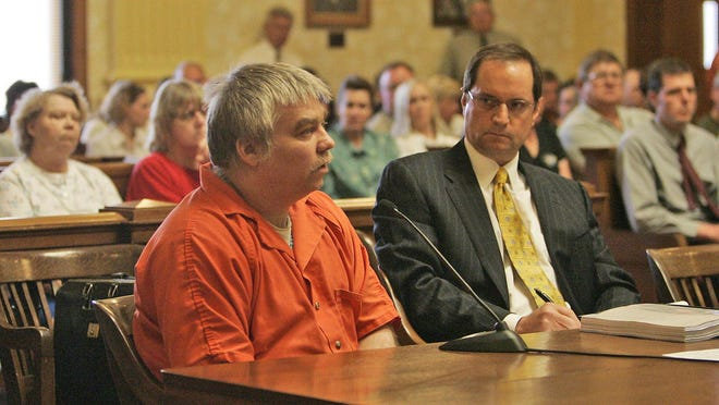 Steven Avery (left) addresses Judge Patrick L. Willis during his sentencing as his attorney Jerome Buting listens in June 2007 at the Manitowoc County Courthouse. Avery was convicted of murdering Terea Halbach 3 1/2 years after his release from prison for a rape he did not commit.