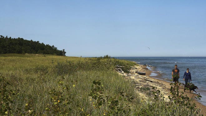 A couple walks with their dog on land the Kohler Co. owns and is proposing for the site of an 18-hole golf course in Sheboygan County. Some holes would be located along Lake Michigan.