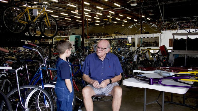 Jack 'the Bike Man' Hairston's not-for-profit bike program in West Palm Beach, located inside of a 15,000 square foot warehouse, partnered with art students at SouthTech Academy to donate a special bike to Marjory Stoneman Douglas. July 26, 2019