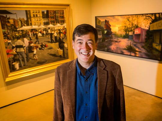 "Artist and author of ""Behind the Easel"" Robert Jackson poses for a portrait in the Truth & Vision exhibit at the Delaware Art Museum in Wilmington on Thursday, October 20."