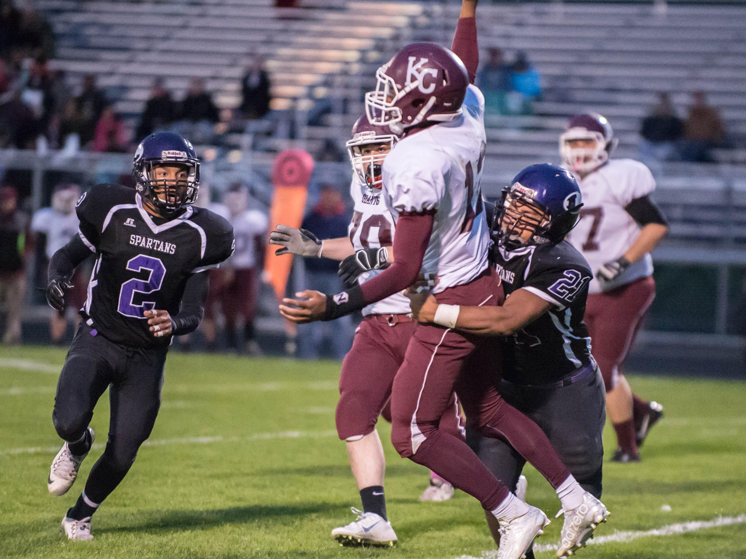 Lakeview's William Dean gets the sack against Kalamazoo Central Friday evening.