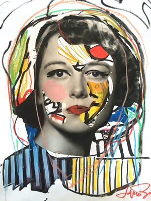 """Frances Berry, """"Lady-Like,"""" mixed media on paper, 2015."""