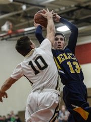 Elco's Mason Bossert (13) is a deadly outside shooter