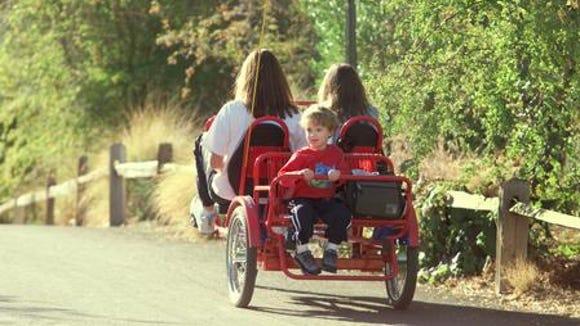 Taking a ride around the Phoenix Zoo when Sawyer was