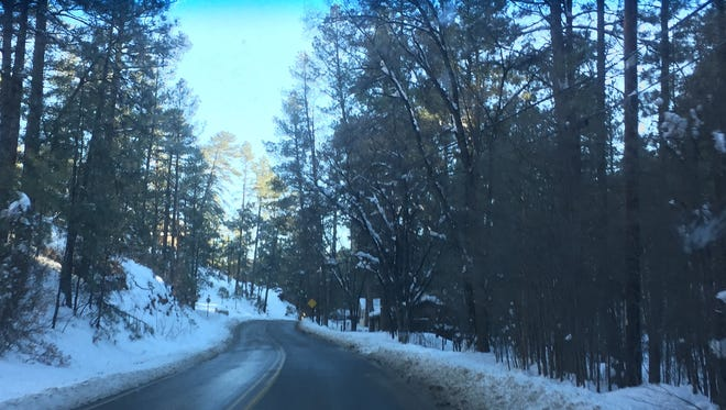 A fast-moving storm dropped about 4 inches of snow in Ruidoso Monday, a meteorologist with the Albuquerque office of the National Weather Service, said.