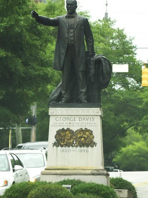 Downtown Wilmington's Confederate monument, the statue to politician George Davis, located at Third and Market streets.