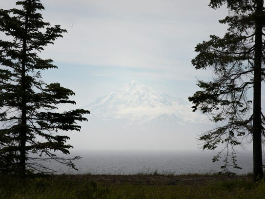 Mon., June 26, 2017:  The view of the  Aleutian mountain
