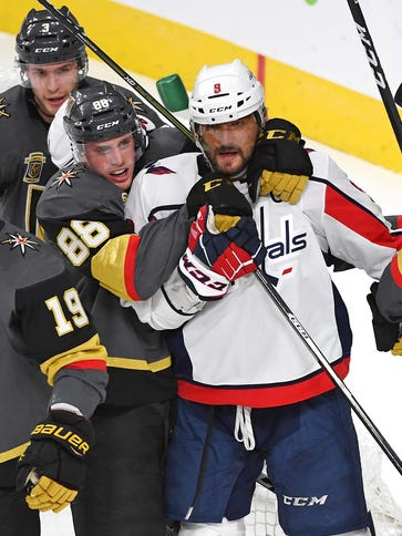 Washington Capitals left wing Alex Ovechkin is tied