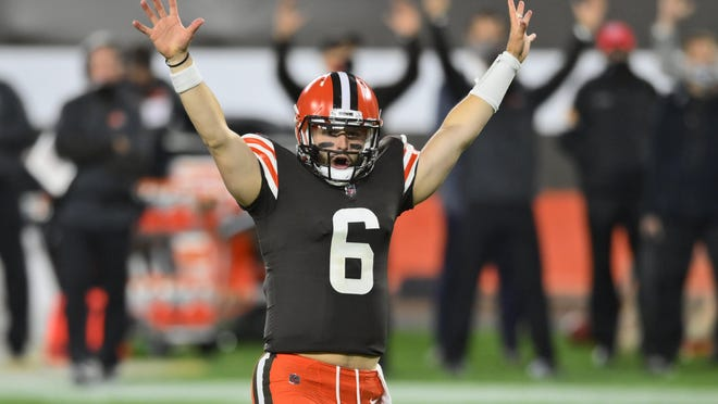 Cleveland Browns quarterback Baker Mayfield celebrates a touchdown during the Browns' 35-30 win over the Cincinnati Bengals in September. The Texas native returns to his home state Sunday to take on the Dallas Cowboys.