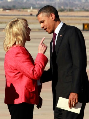 In January 2012, Gov. Jan Brewer and President Barack Obama exchanged tense words on the tarmac at Phoenix Sky Harbor International Airport. At one point, Brewer pointed her finger at the president. The image, captured by an Associated Press photographer, immediately went viral.