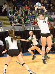 Novi's Erin O'Leary (right) makes the back-set to Ally