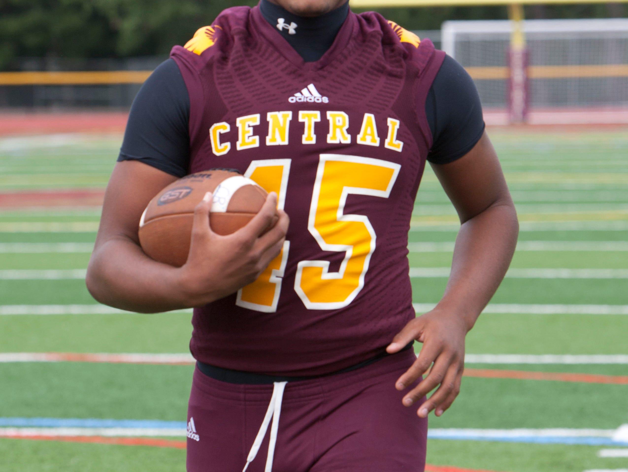 Denis Corbin, a Central Regional football player, was named defensive player of the week-September 21, 2015-Berkeley, NJ.-Staff photographer/Bob Bielk/Asbury Park Press