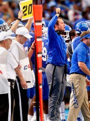 MTSU's injured quarterback Brent Stockstill makes some