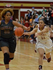 Riverdale's Brinae Alexander passes to a teammate as