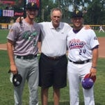 Chris McDonald (left) and Evan Piechota are pictured with Livonia Stevenson head baseball coach Rick Berryman.