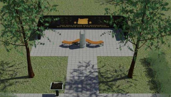 A rendering of the Oregon State Police Fallen Trooper Memorial that will be installed in Spring 2016 near the Public Service Building across from the Oregon State Capitol.