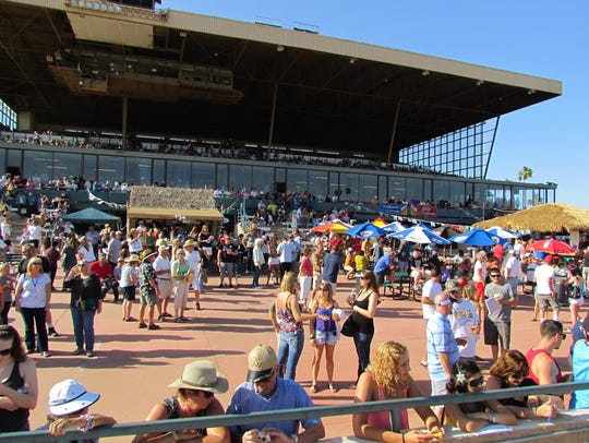 The grandstand at Turf Paradise in northeast Phoenix