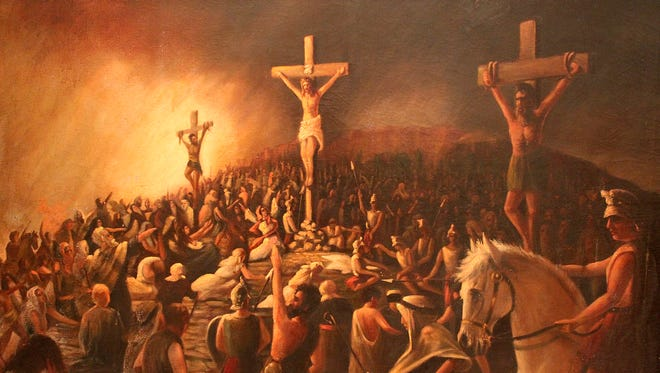 A painting of the crucifixion of Christ by Texas artist Harco Schutter will be on display at Fort Concho for Easter weekend, Friday through Sunday.
