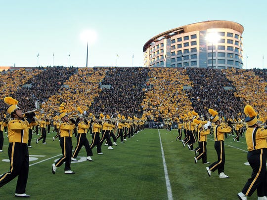 The Hawkeye Marching Band performs prior to Iowa's game against Pittsburgh at Kinnick Stadium on Saturday, Sept. 19, 2015.