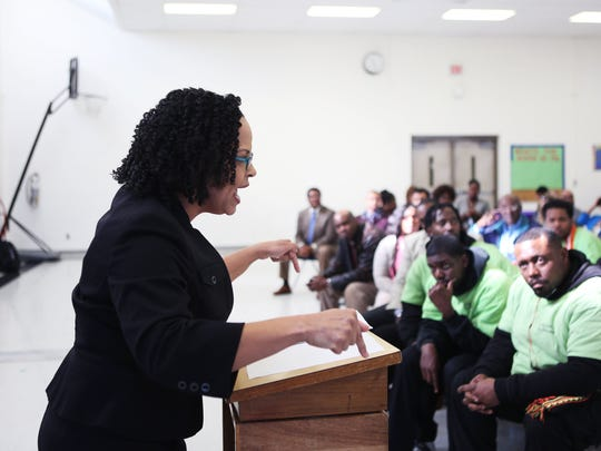 January 28, 2016 - ASD Superintendent Malika Anderson delivers a passionate speech during a Frayser Exchange Club meeting in the gym at Whitney Achievement, one of the schools in the ASD, Thursday afternoon. (Yalonda M. James/The Commercial Appeal)