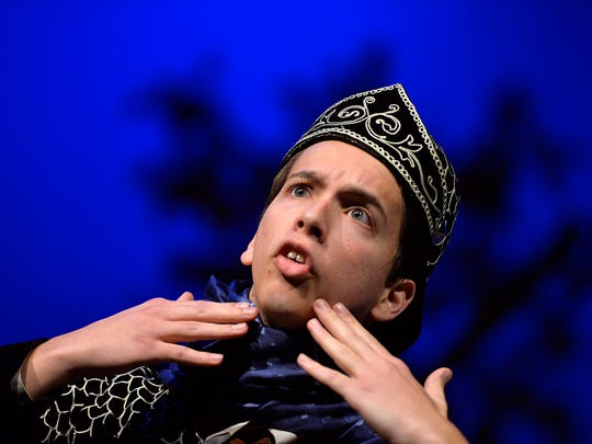 "Senior Cameron Neumann plays Bottom in the St. Cloud Tech production of Shakespeare's ""A Midsummer Night's Dream"" during a dress rehearsal Tuesday, Nov. 10. The play takes a more modern twist on the classic Shakespeare work."