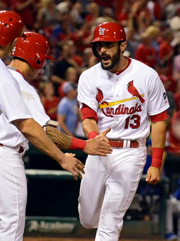 Matt Carpenter celebrates his fifth-inning home run.