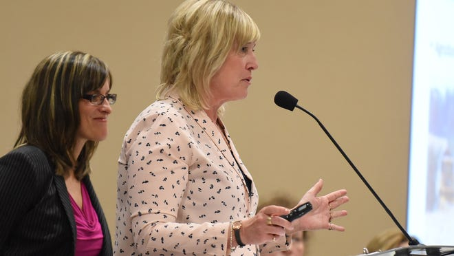 Salem-Keizer Superintendent Christy Perry (left) and Chemeketa Community College President Julie Huckestein speak during the annual State of Education forum on Wednesday at the Salem Convention Center.