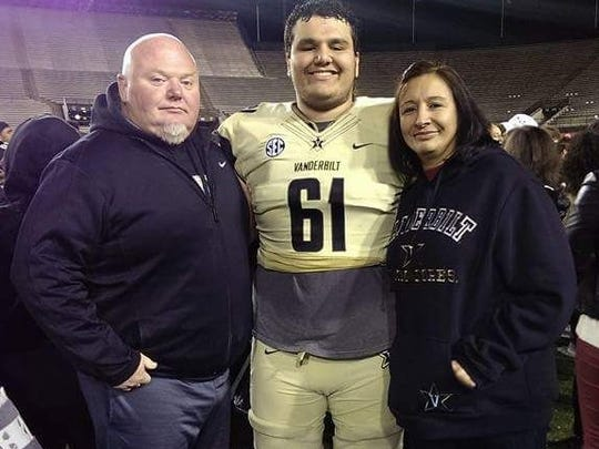 Vanderbilt offensive lineman Bruno Reagan (61) poses
