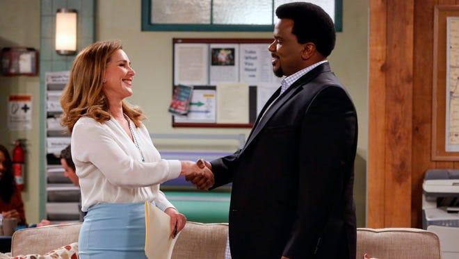 Peri Gilpin, left, is Principal Taylor and Craig Robinson is Craig Robinson on 'Mr. Robinson.'