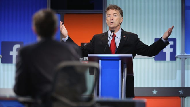 Republican presidential candidate Sen. Rand Paul, R-Ky., fields a question during the first Republican presidential debate hosted by Fox News and Facebook at the Quicken Loans Arena on Aug. 6, 2015 in Cleveland.